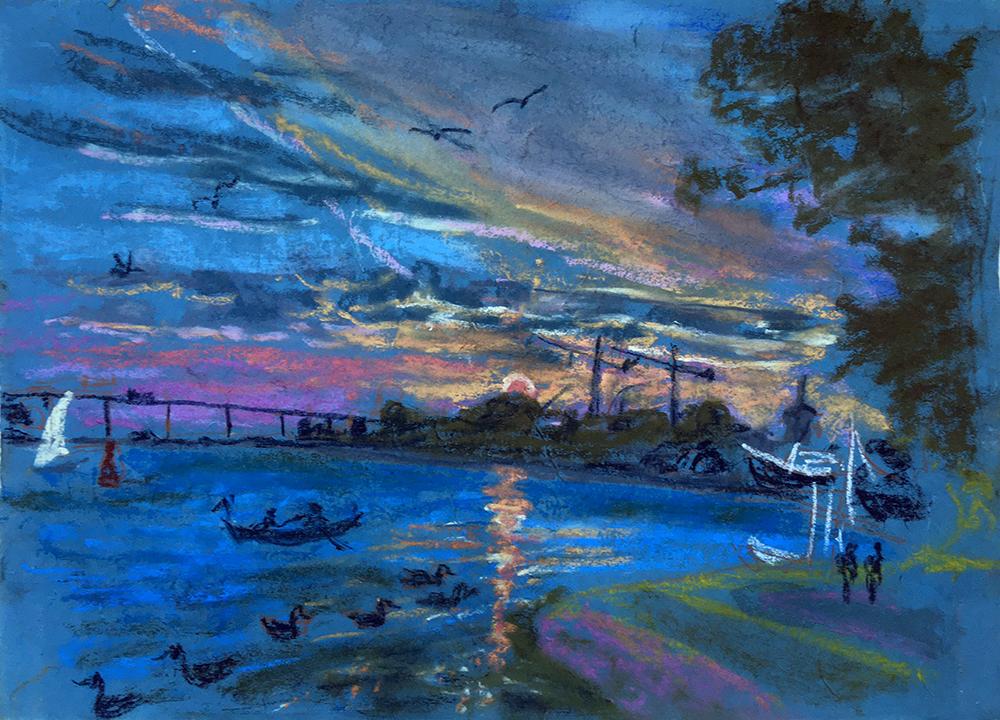 Marietta Bonnet, Night in Svendborg harbour, pastel on handmade paper